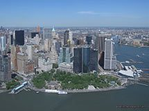 Battery Park and South Manhattan from helicopter, New York City, USA
