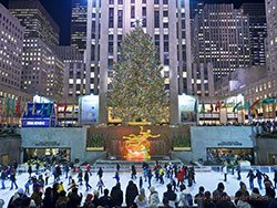 Rockefeller Center, the main Christmas tree and skating rink Donald Trump, New York City, USA