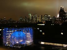 Hayden Planetarium at night, New York City, USA
