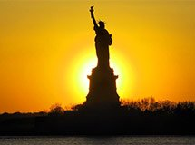 Statue of Liberty at night, sunset, New York City